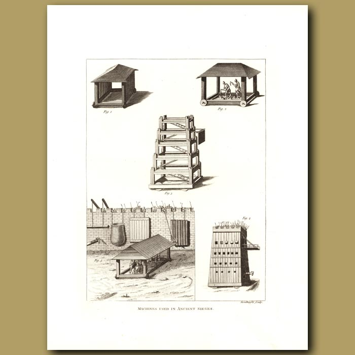 Antique print. Machines Used In Ancient Sieges