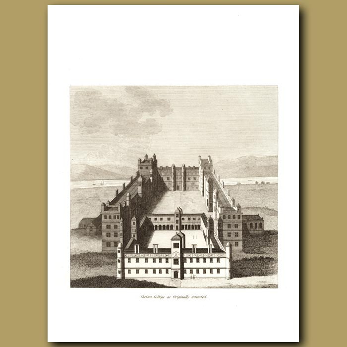 Antique print. Chelsea College As Originally Intended