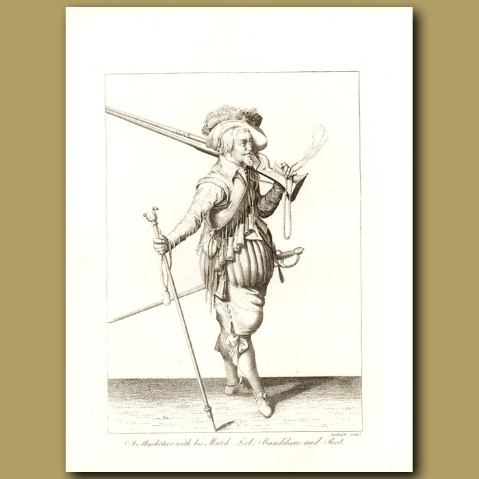 Antique print. A Musketeer With His Match, Lock, Bandileers And Rest