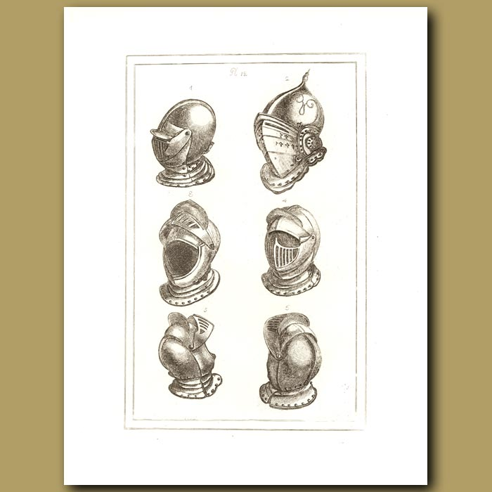 Antique print. Helmets