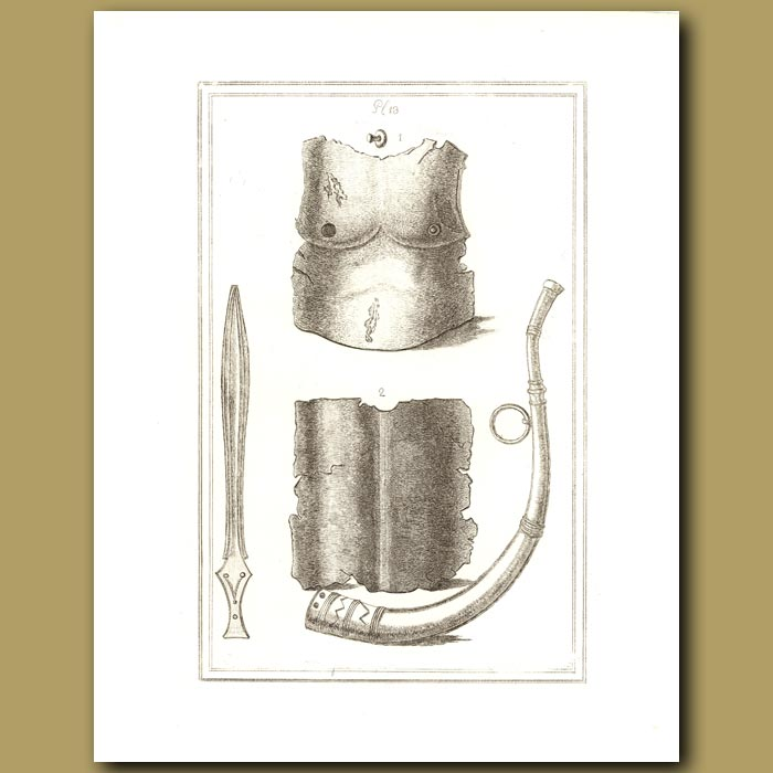 Antique print. Breast Plate And Horn