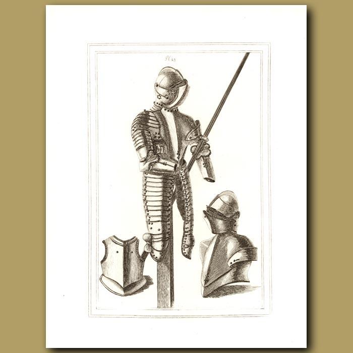 Antique print. A Suit Of Armour