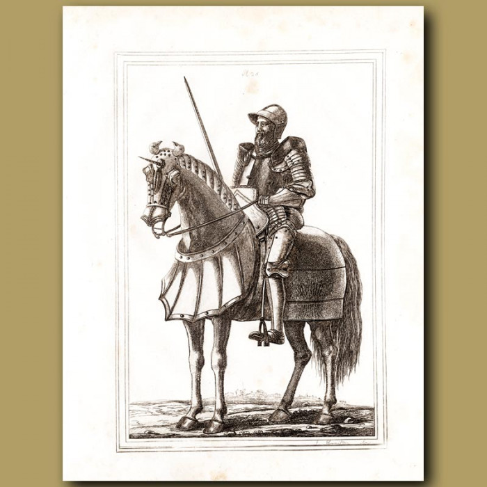 Antique print: Horse Armoury In The Time Of King Edward III