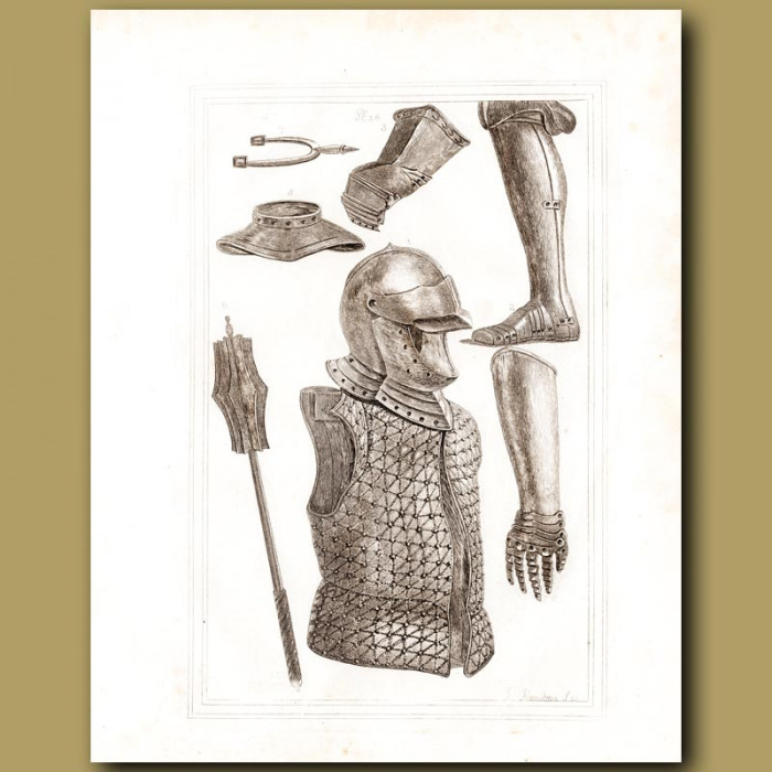 Antique print: Coat Of Mail, Helmets And Gauntlets