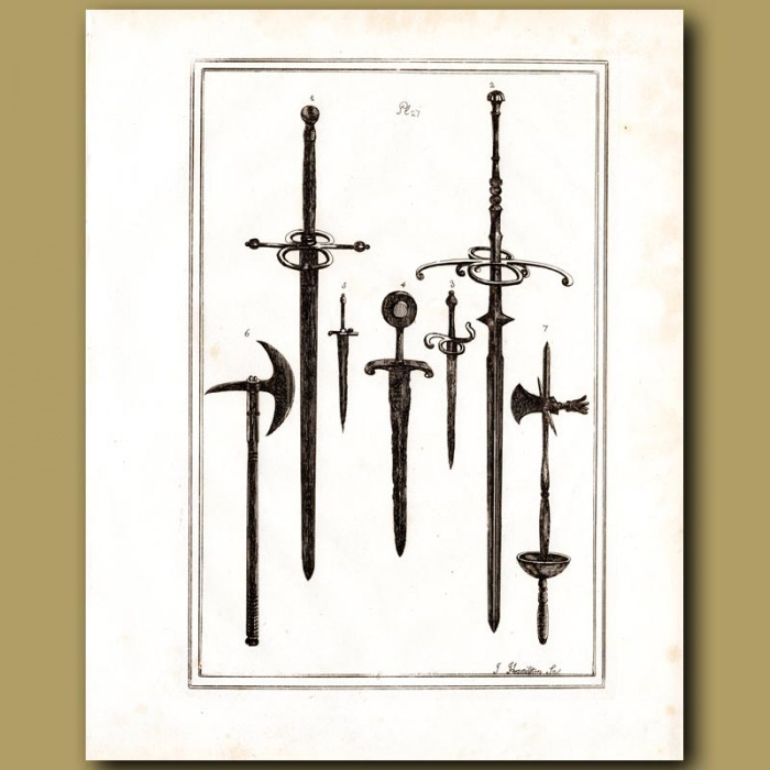 Antique print: Two Handed Swords And Daggers