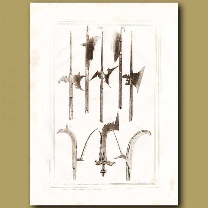Antique print: Halberds And Axes