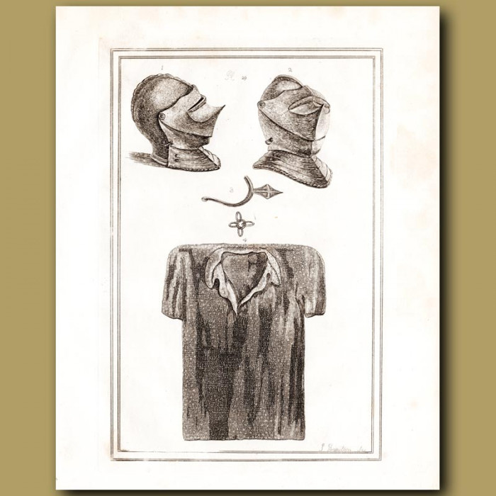 Antique print: Helmets And A Chain Mail Shirt