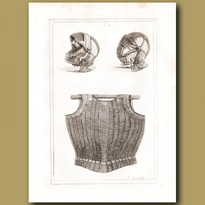 Antique print: Helmets And A Cuirass Belonging To King Henry VIII