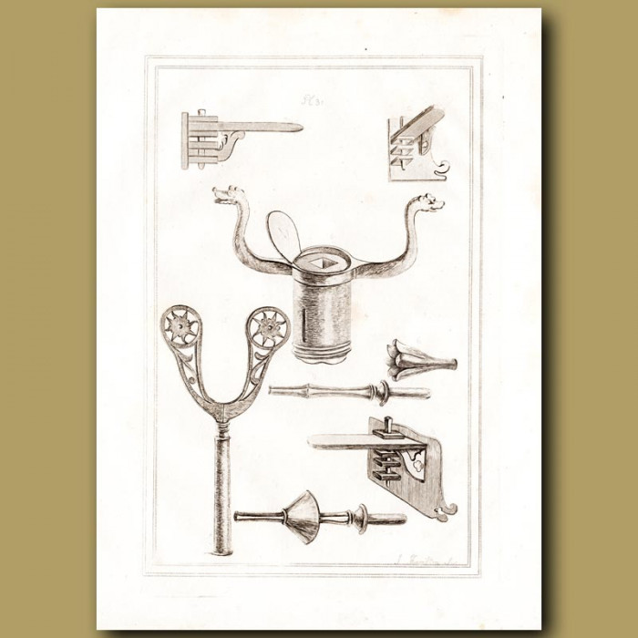 Antique print: Different Types Of Musket Rests