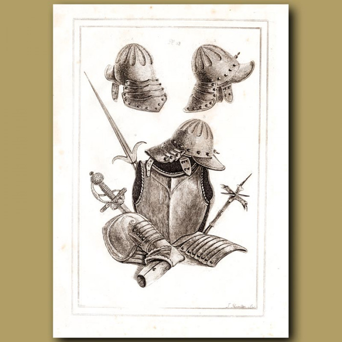 Antique print: Helmets And Armour From The Era Of King Charles I