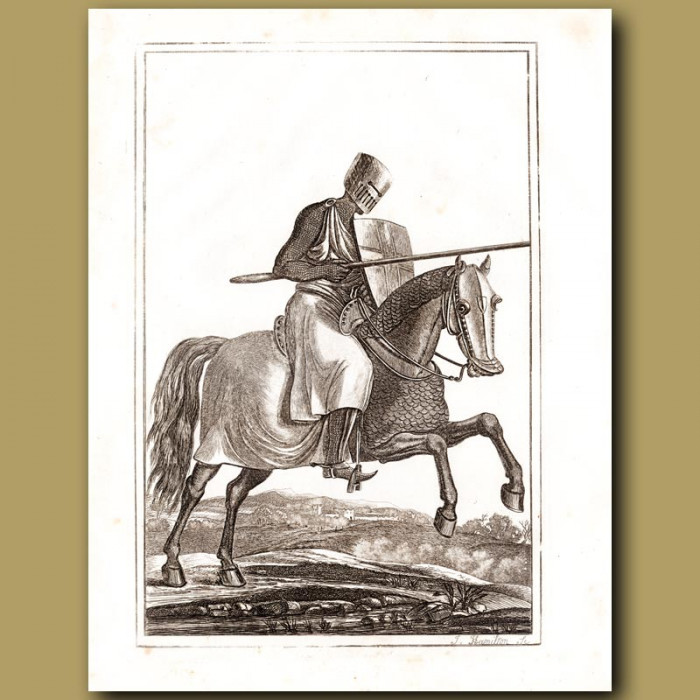 Antique print: A Knight Fully Armed And Charging