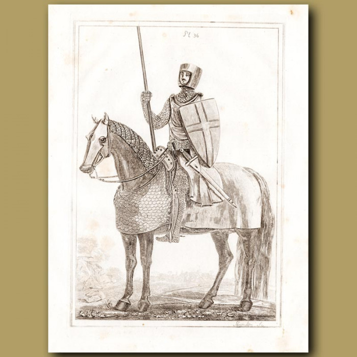 Antique print: A Knight In The Time Of King Henry Ii