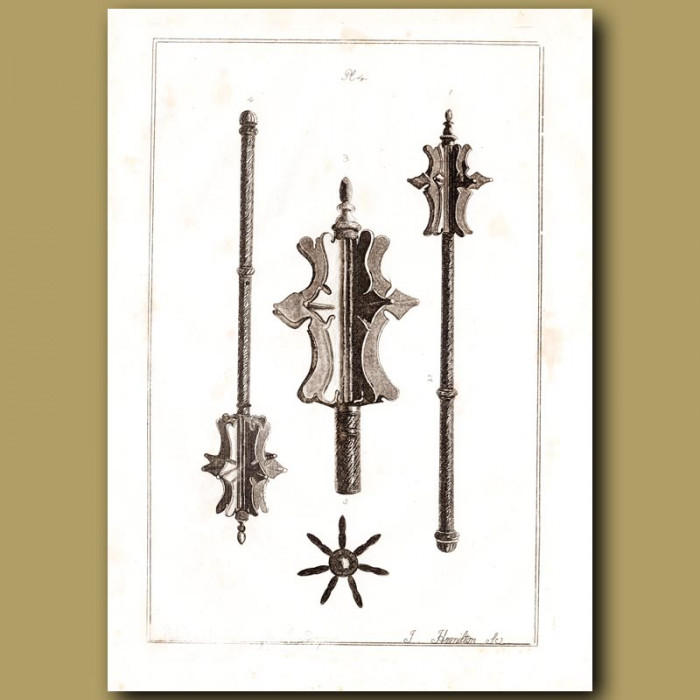 Antique print: Ancient Iron Mace. A Heavy Medieval Weapon