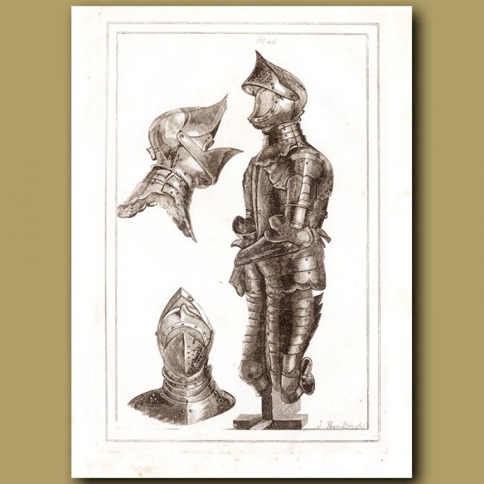Antique print: Helmets And Suit Of Armour