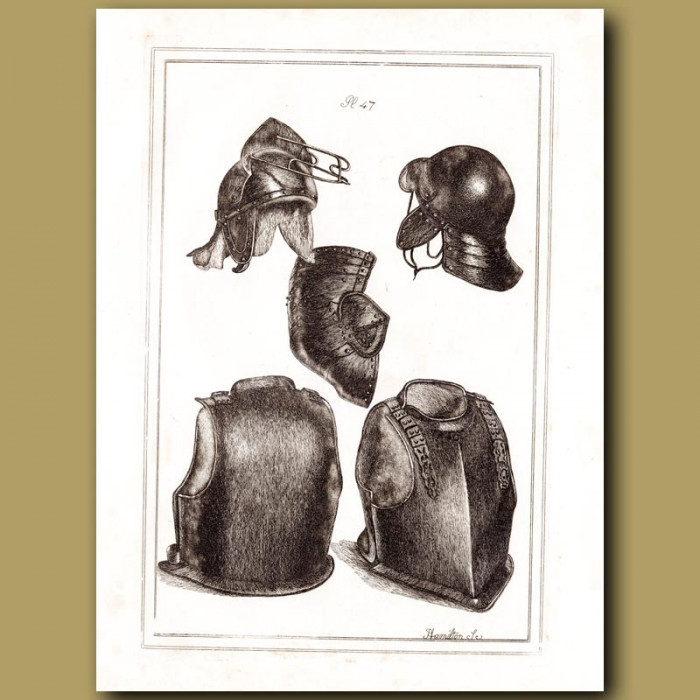 Antique print: Helmets And Breast Plates