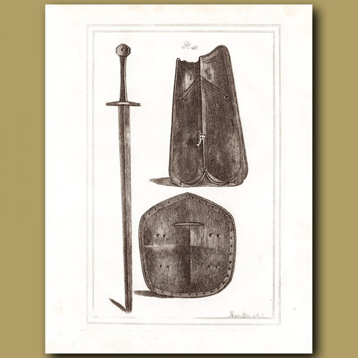 Antique print: A Two Handed Sword And Shields