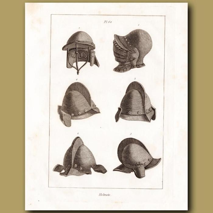 Antique print: Helmets