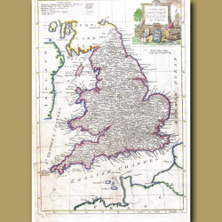 A New And Accurate Map Of England By T.Bowen