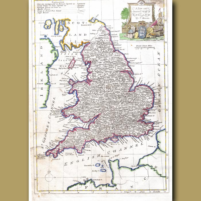 Antique print. A New And Accurate Map Of England By T.Bowen