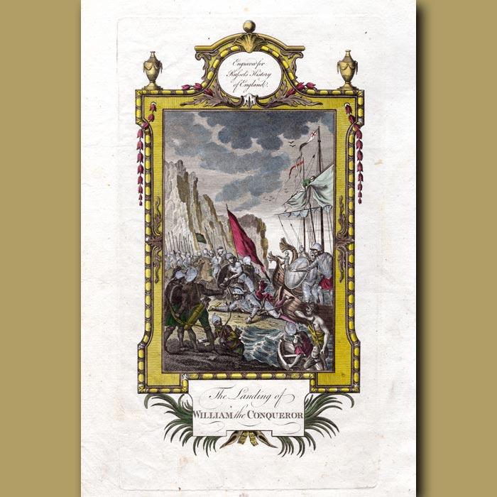 Antique print. The Landing Of William The Conqueror