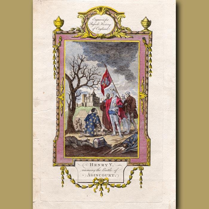 Antique print. King Henry V Naming The Battle Of Agincourt