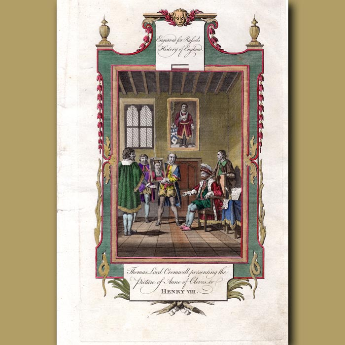 Antique print. Thomas Lord Cromwell Presenting The Picture Of Anne Of Cleves To Henry VIII