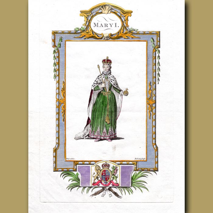 Antique print. Queen Mary I