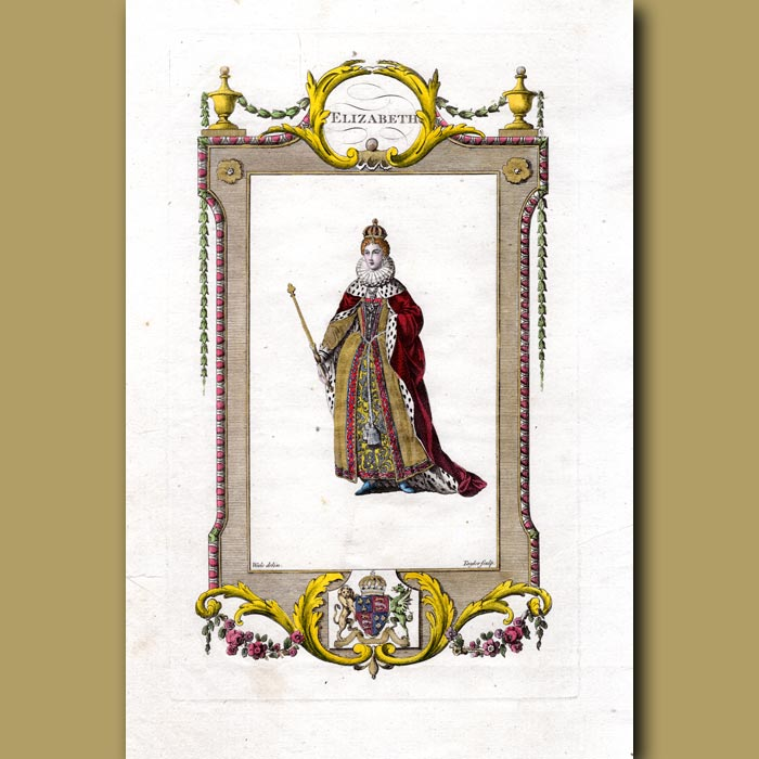 Antique print. Elizabeth. The Fifth And Last Soveriegn Of The House Of Tudor