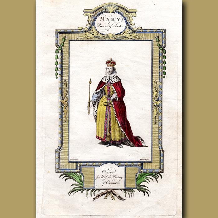 Antique print. Mary Queen Of Scots