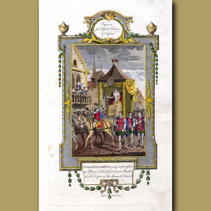 Antique print. Queen Elizabeth Going In Procession