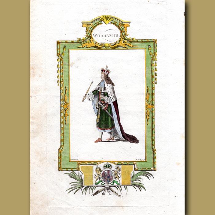Antique print. King William III