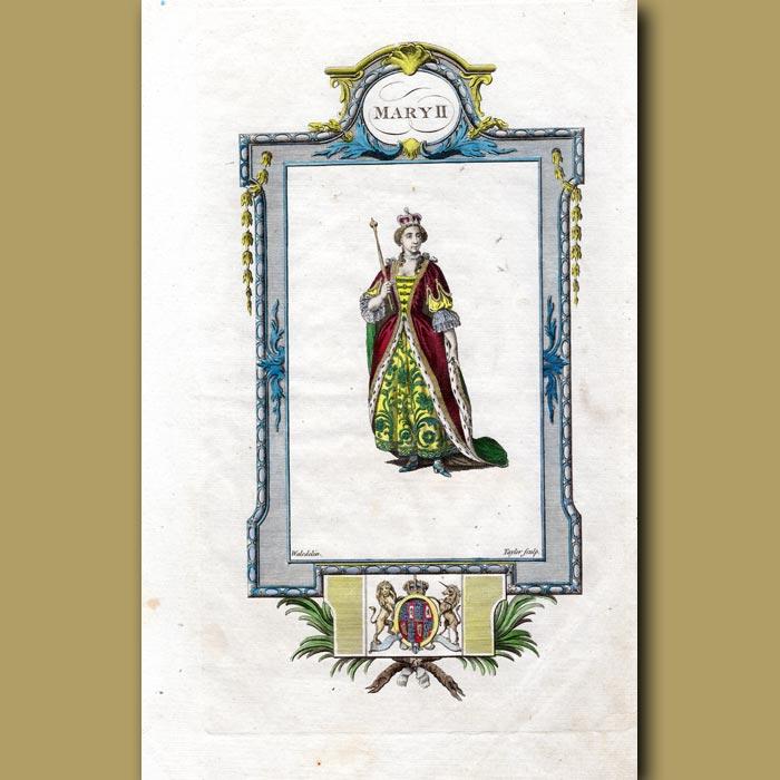 Antique print. Queen Mary II