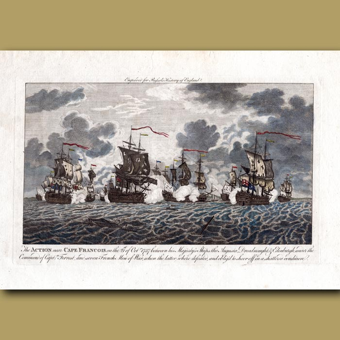Antique print. The Action Near Cape Francois On The 21st October 1757