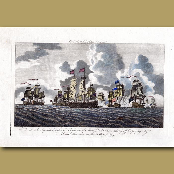 Antique print. The French Squadron Defeated Off Cape Logos By Admiral Boscawen On The 18 August 1759