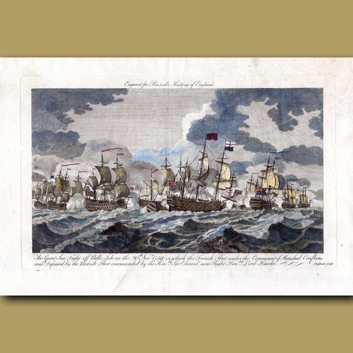 Antique print. The Great Sea Fight Off Belle Isle On The 20th Nov 1759