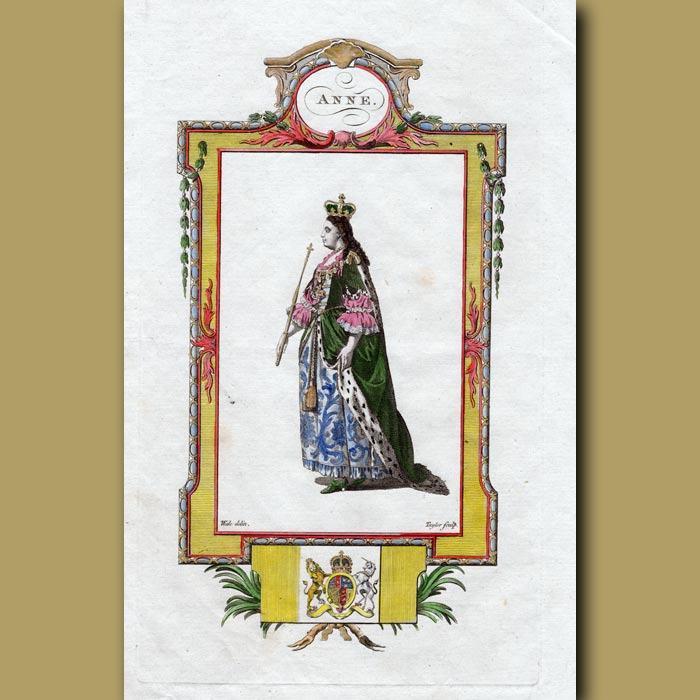 Antique print. Queen Anne
