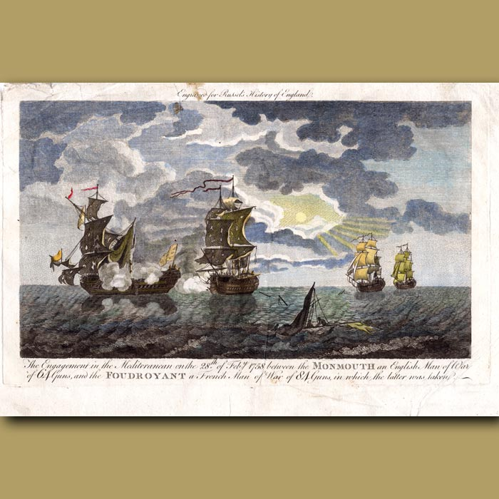 Antique print. The Engagement In The Mediterranean On The 28th Feb 1758 Between The Monmouth And The Foudroyant