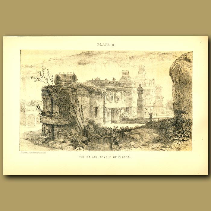 Antique print. The Kailas, Temple Of Ellora In India