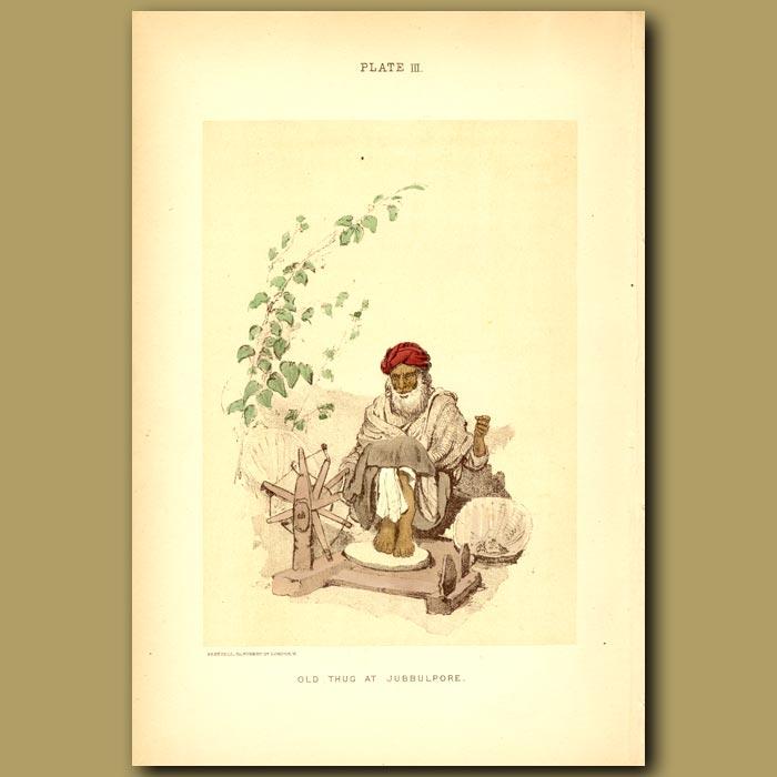 Antique print. Old Thug At Jubbulpore In India
