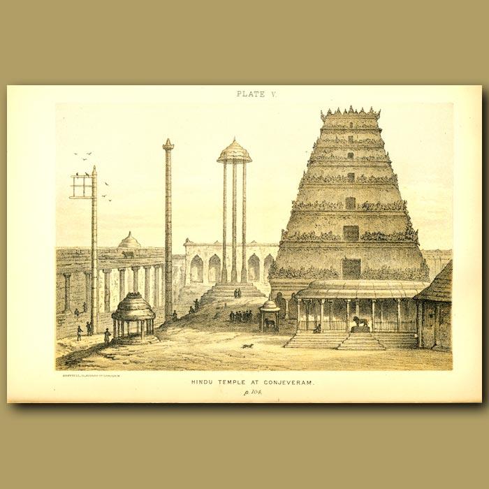 Antique print. Hindu Temple At Conjeveram In India