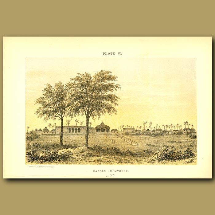 Antique print. Hassan In Mysore In India