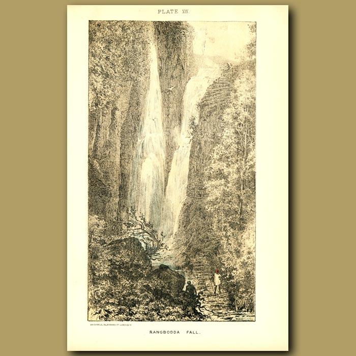 Antique print. Rangbodda Falls In Sri Lanka