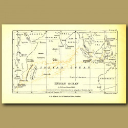 Map Of Indian Ocean Showing Pumice Flow From Krakatoa, 1883