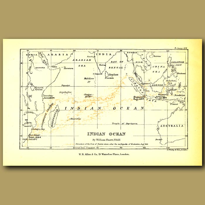 Antique print. Map Of Indian Ocean Showing Pumice Flow From Krakatoa, 1883