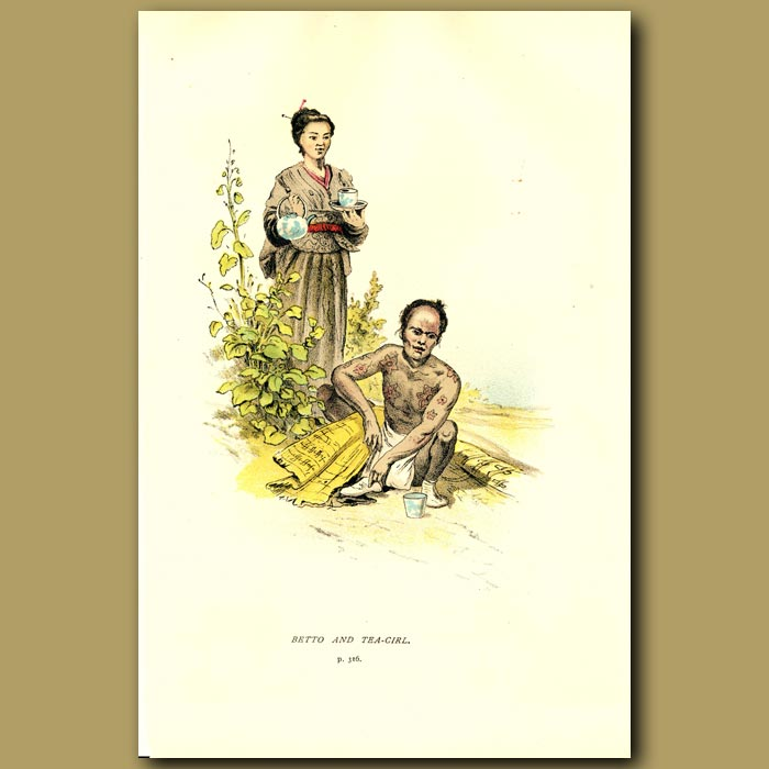 Antique print. Betto And Tea Girl In Japan