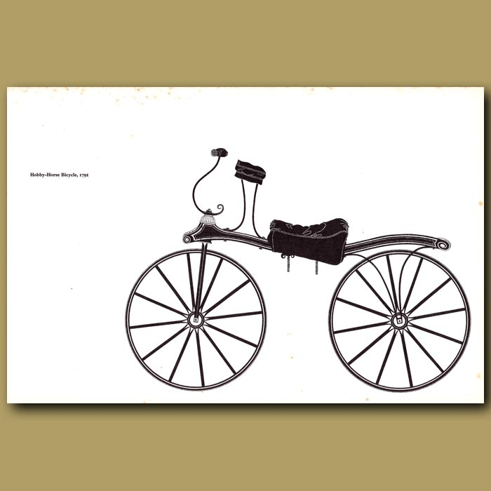 Antique print. Hobby-Horse Bicycle 1791