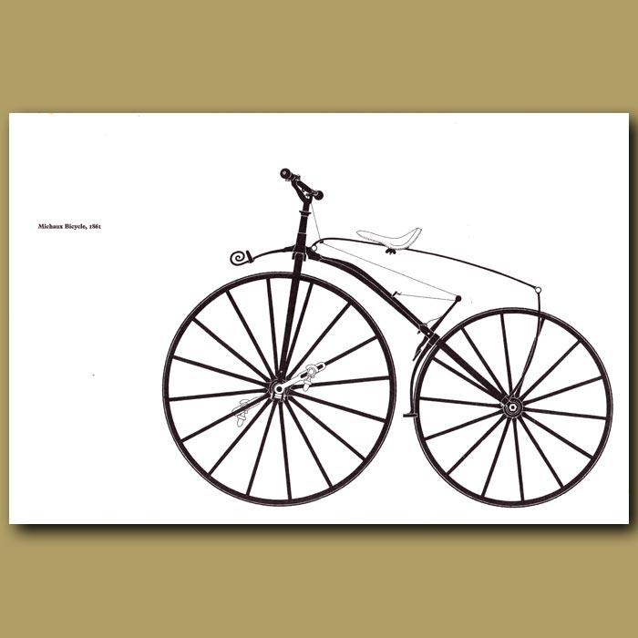 Antique print. Michaux Bicycle 1861