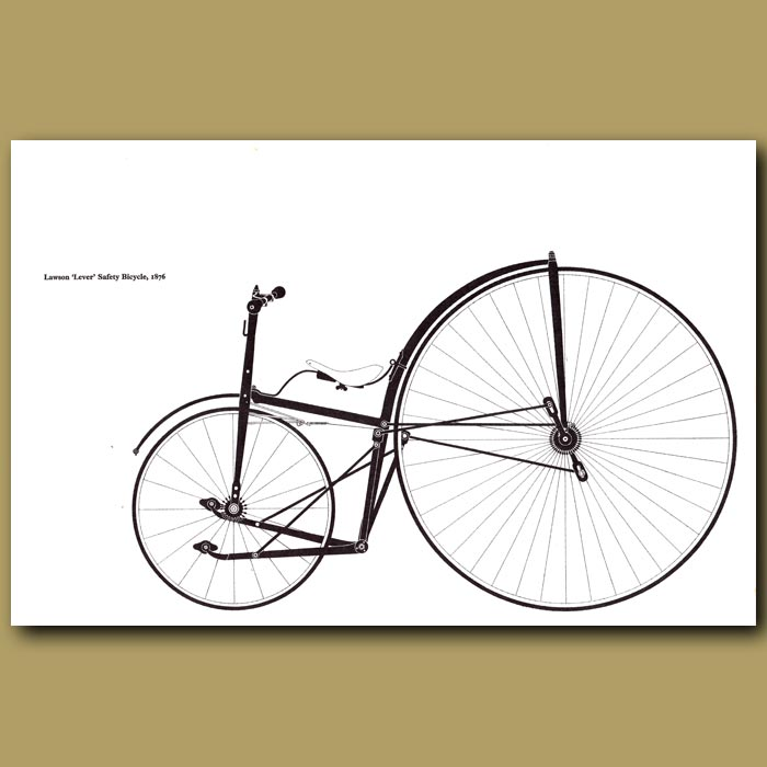 Antique print. Lawson 'Lever' Safety Bicycle, 1876