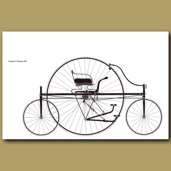 Antique print. Coventry' Tricycle, 1876