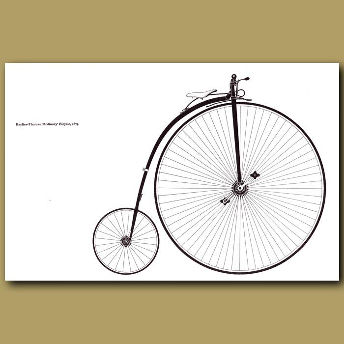 Antique print. Bayliss-Thomas 'Ordinary' Bicycle, 1879